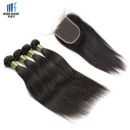 Les brown en Ligne-4 ensembles avec dentelle Couleur de fermeture 2 4 Dark Brown Straight Body Wave Hair Bundles Natural Black Raw Virgin Indian Human Hair Extensions