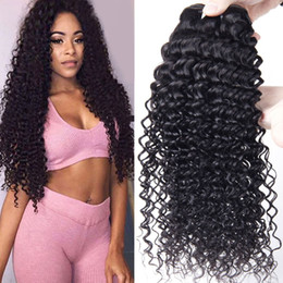 24 paquets de cheveux bouclés en Ligne-Brazilian Remy Human Hair Weave 4 Bundles Brazilian Virgin Human Hair Bundles Deep Wave Kinky Curly Virgin Hair Hair Extensions