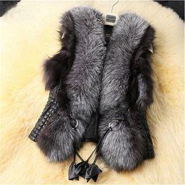 2017 women s faux fur vest Atacado livre de transporte Black Faux Fur Vest quente casaco de peles de inverno Coats para mulheres moda feminina Fur Vest women s faux fur vest ofertas