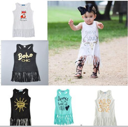 Wholesale Newest Baby Girls Dress Fashion Letter Printed Tassel Vest Dress Baby Summer Cotton Dress Mix styles v133