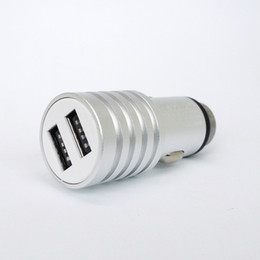 Wholesale 50pcs lot Aluminum Alloy 5V2.4A Car Charger Safety Hammer Design Car Charger Jack Dual USB for Universal cell phone
