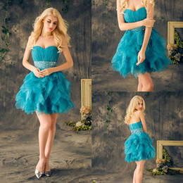Real Blue Short Homecoming Dresses Sweetheart Sleeveless Pleats Ruffles Crystal Beaded Organza Cheap Formal Cocktail Party Dresses
