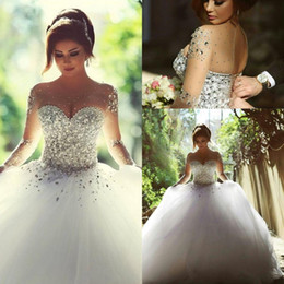 2019 Arabic Long Sleeve Plus Size Wedding Dresses Rhinestones Crystals Backless Ball Gown Vintage Bridal Gowns Dresses