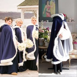 High Quality Royal Blue Satin Bridal Winter Coat New Arrive Winter Fur Bridesmaid Bolero Jacket Wedding Fur Edge Hooded Custom Made