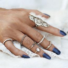 New Bohemia Vintage Jewelry Unique Carving Tibetan Gold Color Midi Ring Set for Woman 7PCS Set Punk Boho Ring Sets