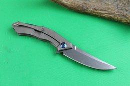 Trefilado de acero en Línea-High End D2 steel Cuchilla de hoja plegable de aleta 59-60HRC SatinWire hoja de acabado de dibujo mango de titanio IKBS sistema de bloqueo de marco