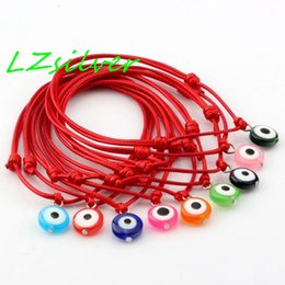 Hot Sell ! 100 pcs Red Wax Rope Mixed Color Resin Evil Eye Beads Charm Adjustable Bracelets