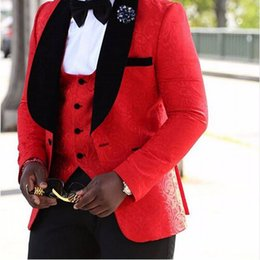 Canada New Groomsmen Shawl Lapel Groom Tuxedos Real Picture Red / White / Black Men Costumes Wedding Best Man Blazer (Veste + Pantalons + Veste + Bow) pictures best suit on sale Offre