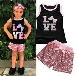 love letters floral sleeveless t-shirts sequined pants girls clothing suits children kids summer clothing sets pink red girls casual outfits
