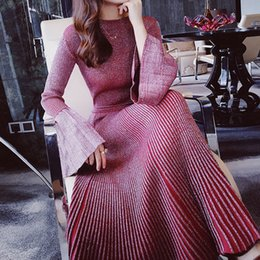 Wholesale 2 pieces sets women elegant wine red knitted flare sleeve shirts knitting Sweater striped pleated mermaid maxi skirt suit sets