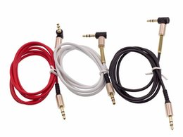 Wholesale Aluminium Bend Audio Cable Degree Right Angle m ft mm Stereo AUX Auxiliary Car Extension Wire for Mobile phone MP3 Speaker Computer