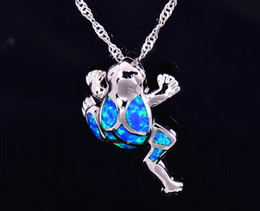 Wholesale & Retail Fashion Jewelry Fine Blue Fire Opal Frog Stone Sliver Pendants and Necklace For Women PJ17082719