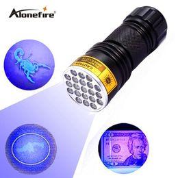 SKU767 AloneFire 21 LED UV Light 395-400nm LED UV Flashlight-black