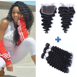 Resika Free Shipping Peruvian Deep Wave Virgin Hair 4x4 Lace Closure with 3 Bundles Real Human Hair Weft Extensions Natural Color