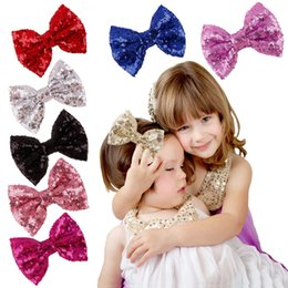 2017 Girl Baby Kids hairpins Hair Bow Barrettes Hair Clips Sequin Big Bows Clip With Metal Teeth Clip Boutique Bows Hair Accessories