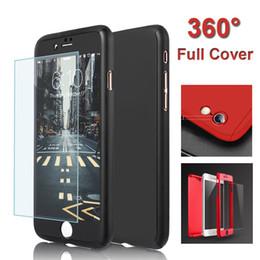 Acheter en ligne Protection téléphone cellulaire-Premium ultra-mince hybride 360 degrés pleine protection du boîtier du boîtier avec le protecteur d'écran en verre trempé pour iPhone6S 7Plus boîtier de téléphone cellulaire