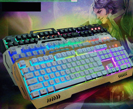 Metal keyboard and mouse set gaming machine LED backlit keyboard feel rainbow factory direct shipping sets keyboard