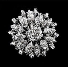 """Vintage Style 2.1"""" Rhodium Silver Crystal Diamante brooch Pin"""