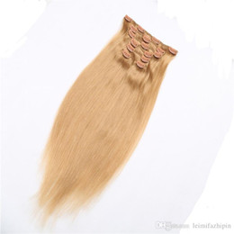 Resika Wholesale Price Brazilian Virgin Clip In Human Hair 10pcs 22clips #27 Honry Blonde Clip In On Hair Extension Dyeable Fast Shipping