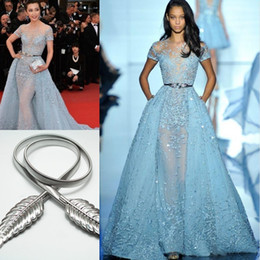 Wholesale Li Bingbing in Zuhair Murad Red Carpet Evening Dresses Overskirts Lace Applique Beads Lace Poet Short Sleeve Formal Prom Celebrity Gowns