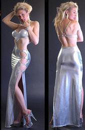 Traje de cuero completo en venta-Mujer Japanned cuero lencería Cheongsam vestido de plata Princesa vestido completo trajes de la reina Erotic Bikini Sexy Cosplay traje