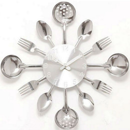 Wholesale Promotion Digital Wall Clock Fork Spoon Kitchen The Decor Modern Quartz Metal Mute Sale Rushed Special Offer Freeshippi