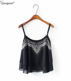 Wholesale Women Summer Dress Print Chiffon Camis Sexy Embroidery Crop Top Blusas Dill Top Slim Brand Sleeveless Backless WBS221
