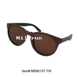 luxury round thin wood sunglasses