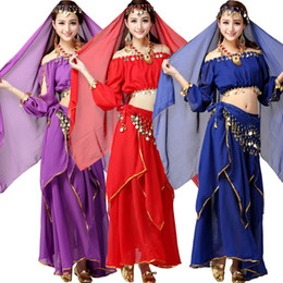 4Pcs Top+Pant+Belt+Veil Women Belly Dance Performance Costumes Girls Dancing Wear Belly Dance Cloth Set Female Indian Stage Dancewear dress