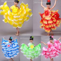 chinese flower dance costumes for girls Kids festival dance costumes for girls chinese new year dance dress Latin Ballroom dancing costumes
