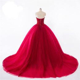 Wholesale The new sexy red heart shaped collar skirt tail heavy manual lace bead back strap multilayer net bag Quinceanera Dresses Cheap mail