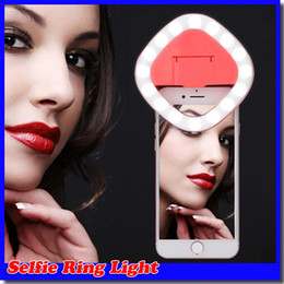 Mirror LED selfie ring light Protable Mini LED Flash CLIP ON SELFIE RING LIGHT Supplementary Photography Ring Lighting for iphone 7 plus