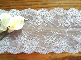 Elastic Stretch Lace Fabric Trim Jacquard Chair Sashes Covers Home Textiles Decor Wedding Party Accessories Decoration Floral WHITE 1 Yard