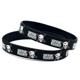 Wholesae 100PCS Lot Printed Little Punk Logo Wristband Silicone Bracelet Hip Hop Band Adult Size 2 Colours