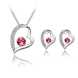 Fashion Luxury Jewelry Set Crystal From Swarovski Heart-shaped Pendant Necklace & Earrings For Women Weddings Jewelry