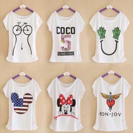 Shirt de douille d'impression des animaux gros à vendre-Vente en gros 2016 Été nouvelle marque T-shirt imprimé numérique Minnie coton T-shirt Lady Batwing Tee-shirt manches Top Tee pour les femmes