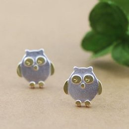 Brushed lovely gold-plated plated owl Stud Earrings FS123