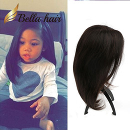 Natural Color Kids Full Lace Human Hair Bob Wig Full Hand-Tied Unprocessed Virgin Hair with Adjustable Band and Clips Lace Wig for Children