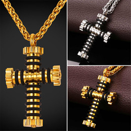 U7 New Gold Plated Stainless Steel Cross Pendant Necklaces With Gear Wheel Pattern Silicone Hip Hop Jewelry Rope Chain For Men Bijoux Access