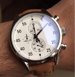 2017 NEW ARRIVAL Carrea Calibre 1887 SpaceX Chrono Flyback Stopwatch White Dial Brown Leather Belt Mens Watches Sports Gent Watch VK Chronog