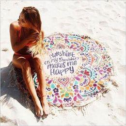 Wholesale Round Sunshine on My Shoulder Mades Me Happy Beach Tassel Tapestry Towel Summer Swimming Sunbath Beach Towels CCA5642