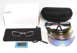 Wholesale Polarized Bicycle Goggles POC Style Outdoor Sunglasses Eyewear with Lens UV400 Protective Bicycle Glasses with Retail box and Zipper Case