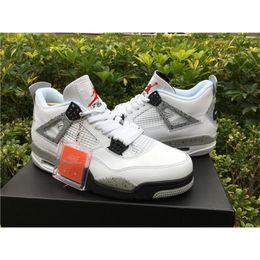 Wholesale Jordan Sports Air Retro Retro IV White Cement OG Release Black Grey Red Jordans Retros White Cement With Original Box