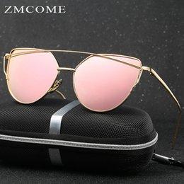 Compra Online Lente de espejo-ZMCOME Gafas de sol de Ojo de gato de las mujeres Lente de revestimiento del panel plano del espejo de la marca de fábrica del diseñador de la marca de fábrica de los Gafas de sol Doble-Vigas UV400