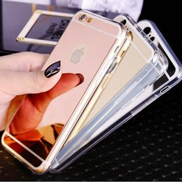 Plating TPU Mirror Back Cover for iPhone6 6s Plus Soft Anti-Knock Case for iPhone7 Plus S7 Edge Phone Protective Cases for S8 Plus