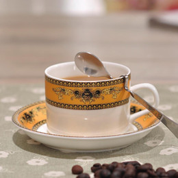 Set of 6 Bone China Coffee Cup,tea cup Set with Spoon,Saucer and Bracket 200ml of Each Cup