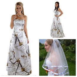 Strapless A-Line Camo Wedding Dress Beaded With Veil Camouflage Customized Vestidos De Soiree Bridal Gowns Lace Up Back Real Tree