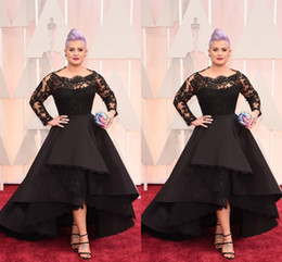 Red Carpet Prom Dresses Scoop Black Sheer Neck High Low Long Sleeves Evening Gowns Lace Appliques Custom Made Plus Size Party Dress