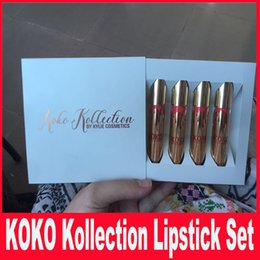 Wholesale Kylie Jenner Lip Kit Lipgloss Set KOKO Kollection Set The Family Collaboration kollaboration Gold Metal Matte lipstick KHLOE Lip Gloss