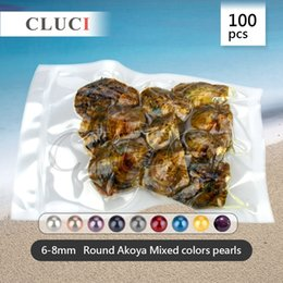 Wholesale Best choice for party of RANDOM Mixed colors mm Round Akoya Cultured Pearl Oyster bags